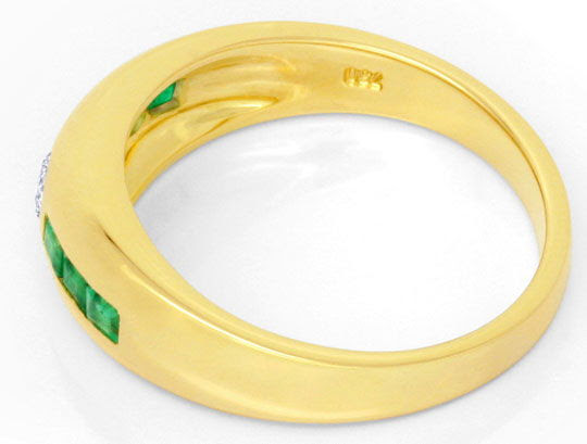 Foto 3, BRILLANT-BANDRING SUPER-SMARAGD-CARREES 18K GOLD LUXUS!, S6770