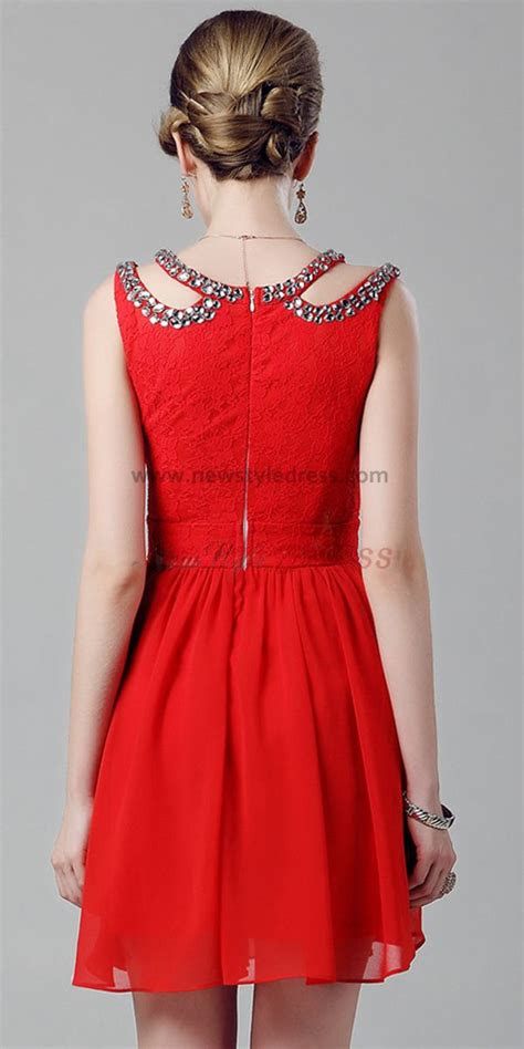 red unique neckline  knee sexy homecoming dresses