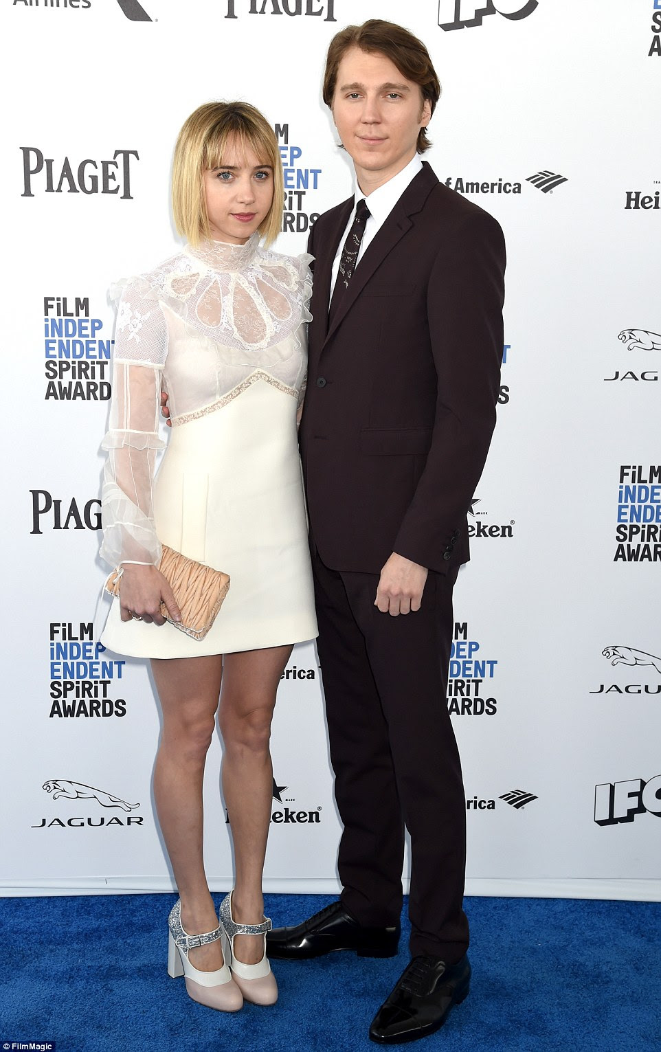 Stylish couple: Paul Dano andZoe Kazan stepped out looking immaculate on the blue carpet