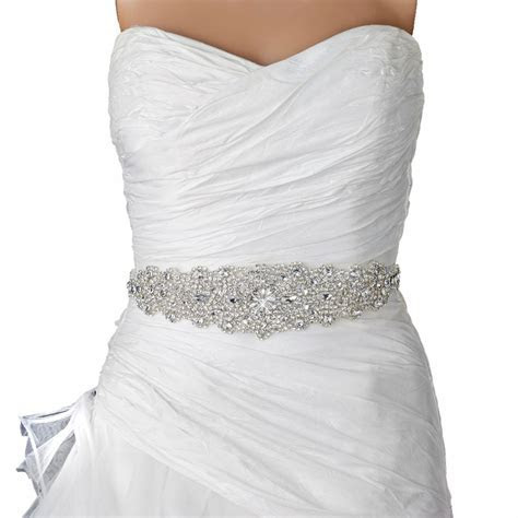 Rhinestone Crystal Bridal Belt 315 Sash Ivory