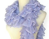 Hand Knit Ruffled Scarf - Periwinkle Blue - ArlenesBoutique