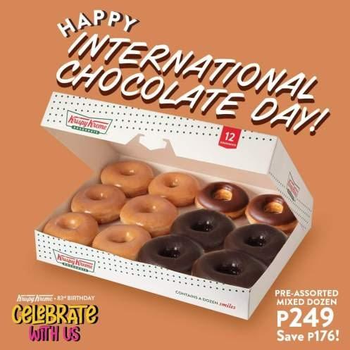Krispy Kreme box of 6 Original Glazed and 6 pre-assorted Chocolate Doughnuts for only P249