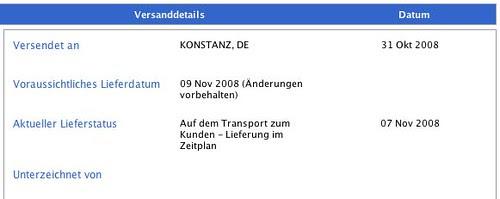 Apple Lieferstatus 09.11.2008