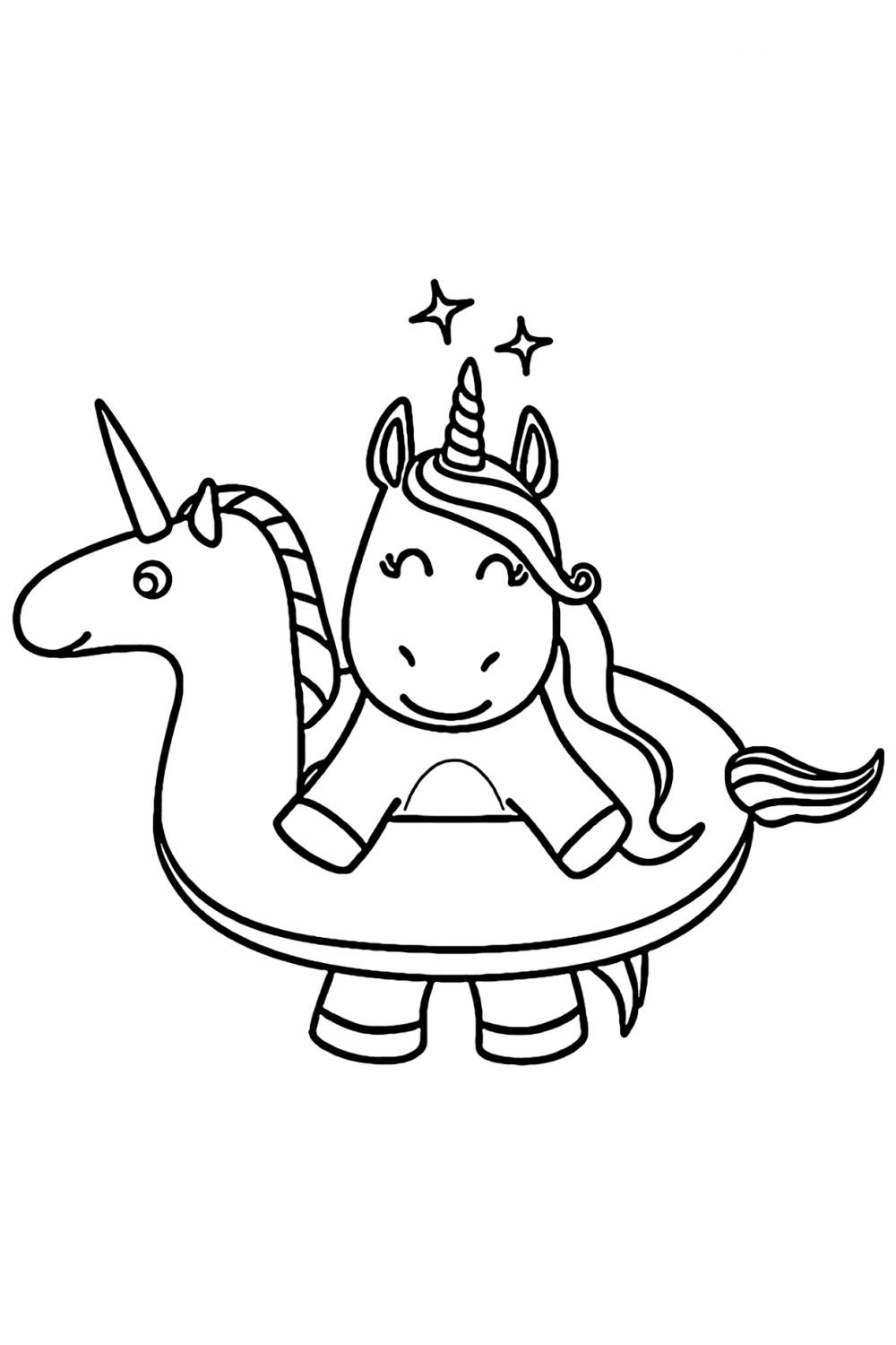 Unicorn Coloring Pages For Kids Cute Drawing With Crayons