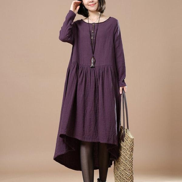 women cotton linen loose fitting maxi dress 1_grande