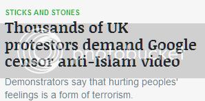 Protestors demand Google censor anti-Islam video/Demonstrators say hurting peoples' feelings is a form of terrorism.