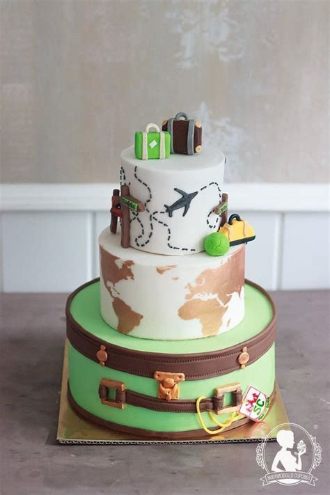 Travel Wedding Cake   World Map, Suitcases (Cool Cakes