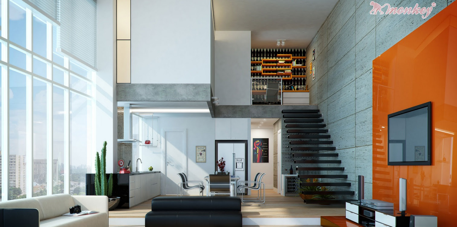 Orange White Open Plan Living Area Interior Design Ideas