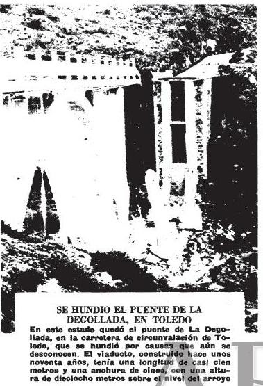 Noticia del derrumbe del puente de la Degollada en Toledo. ABC, enero de 1973