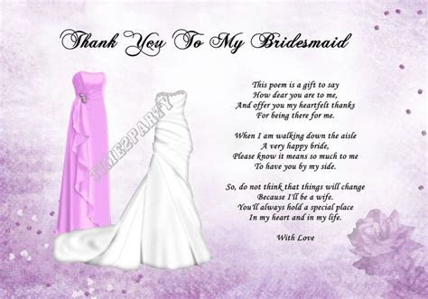 A4 Thank You To My Bridesmaid Poem   Wedding Day Gift
