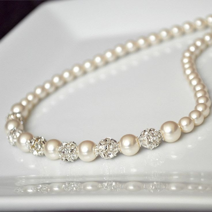 Bridal Necklace Swarovski Bridal Jewelry Pearl by somethingjeweled
