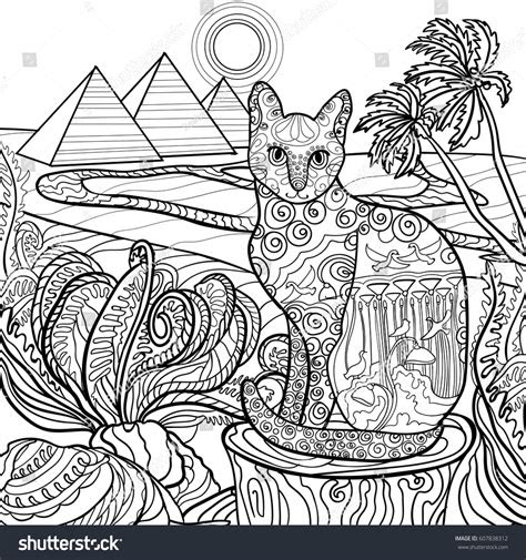 outline cat coloring page design egypt stock vector
