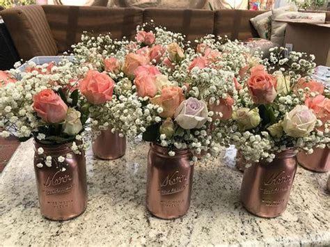 Rose Gold Mason Jar Centerpiece   Weddings   Wedding