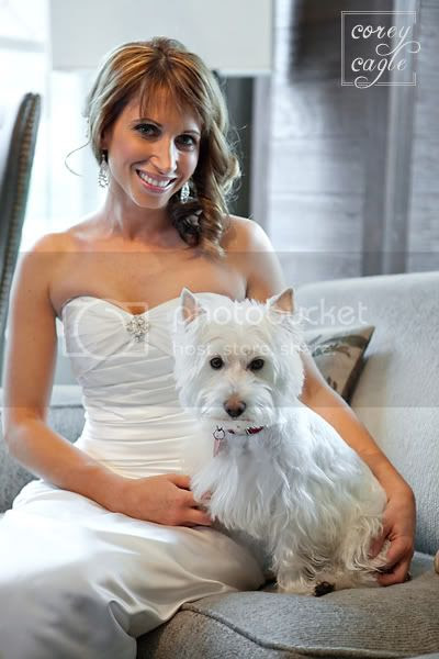 Bride with her dog at Grand Bohemian Hotel