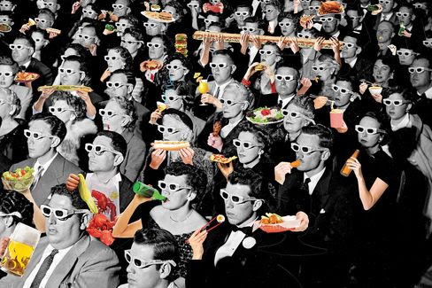 Full frame of movie audience wearing special 3D gl