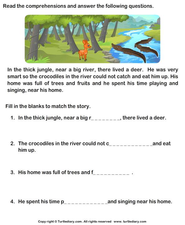 Reading Prehension Stories Worksheet Turtle Diary