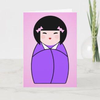 Purple Kokeshi Doll Birthday Card card