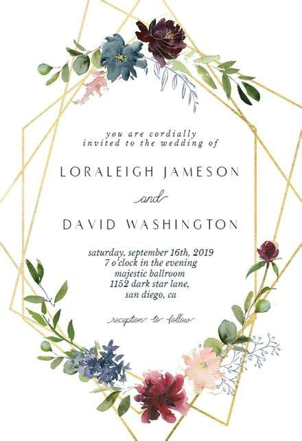 Geometric & Flowers   Wedding Invitation Template (free