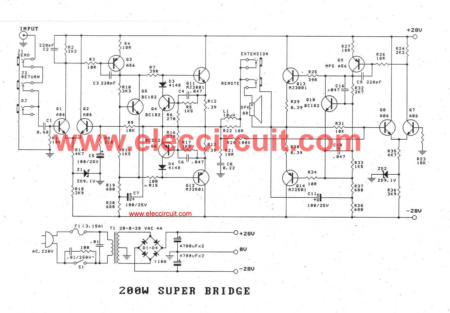 Amplifier Power Watts Transistor Schematic