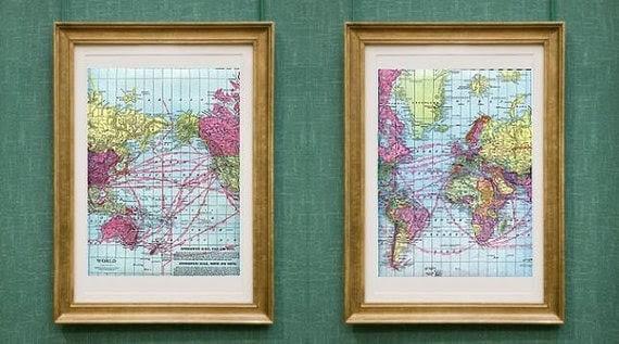 two vintage WORLD atlas map prints - FREE SHIPPING