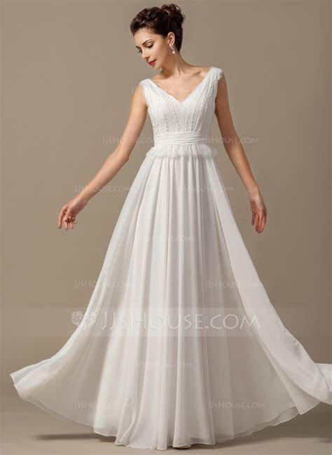 A Line/Princess V neck Floor Length Chiffon Wedding Dress