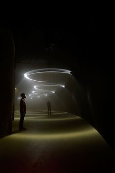 Momentum, a new immersive art installation by United Visual Artists, opens today at the Barbican in London. Featuring a series of sound-and-light emitting pendulums, the work transforms the Curve gallery into a kind of space-age temple...