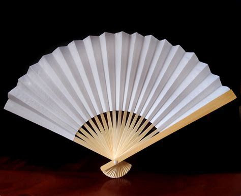 """9"""" White Chinese Folding Paper Hand Fan for Weddings on"""
