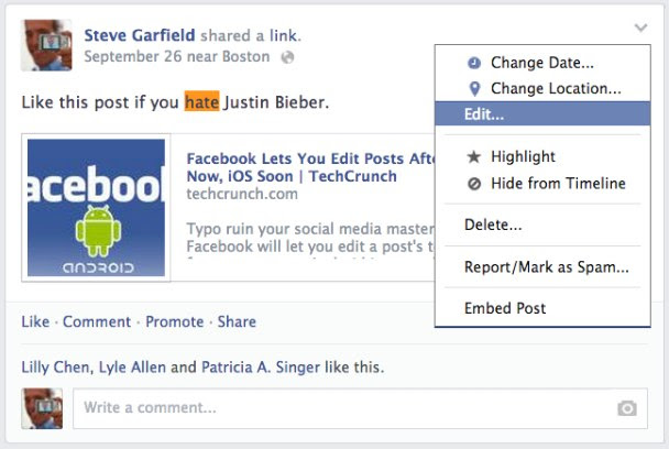 Facebook: Edit Posts - EDIT