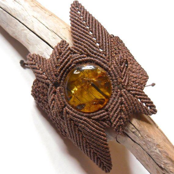 Amber Leaf Micro Macrame Bracelet, by Kate Moran