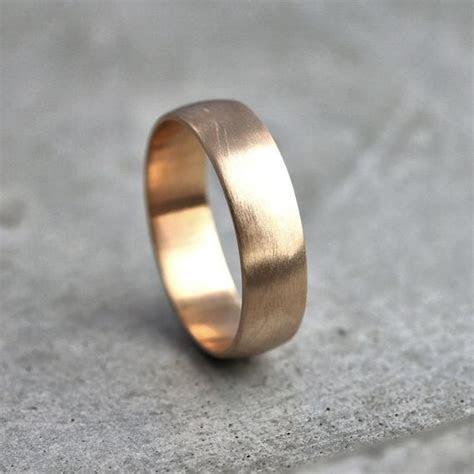 Wide Men's Gold Wedding Band Recycled 14k Yellow Gold 6mm