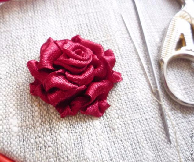 Rose flower.  ribbon embroidery (31) (635x532, 263Kb)