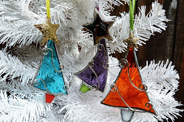 Whimscal Assorted Stained Glass Christmas Trees - miloglass