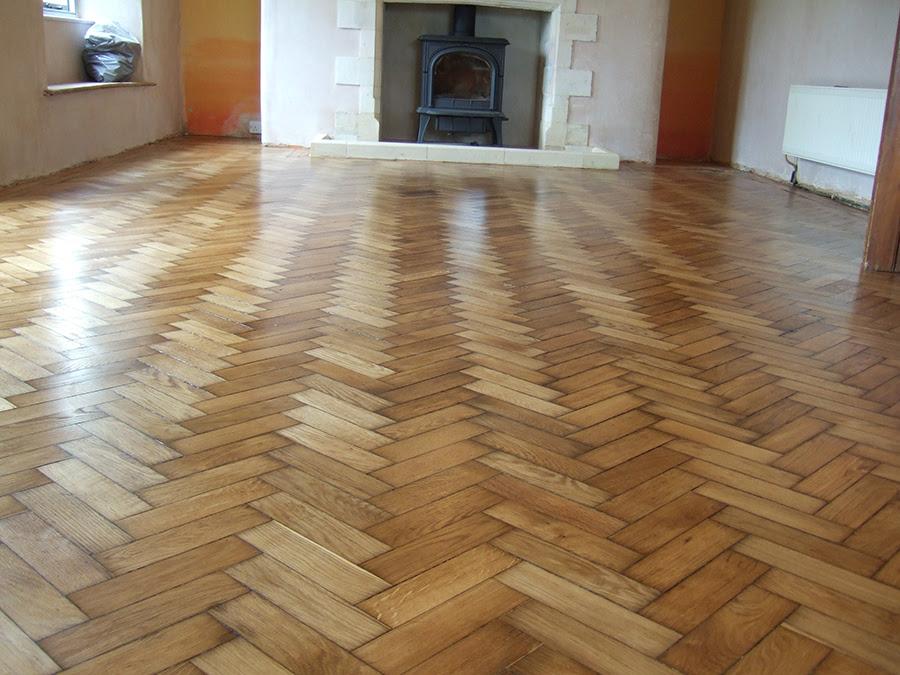 old pine parquet floor after