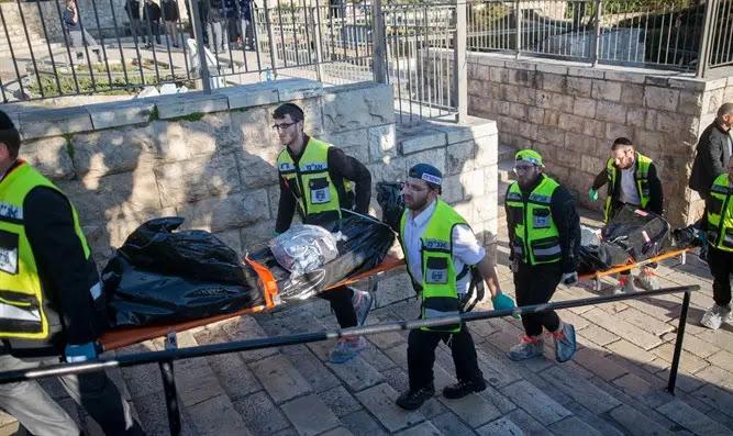 Zaka volunteers evacuate terrorist's bodies