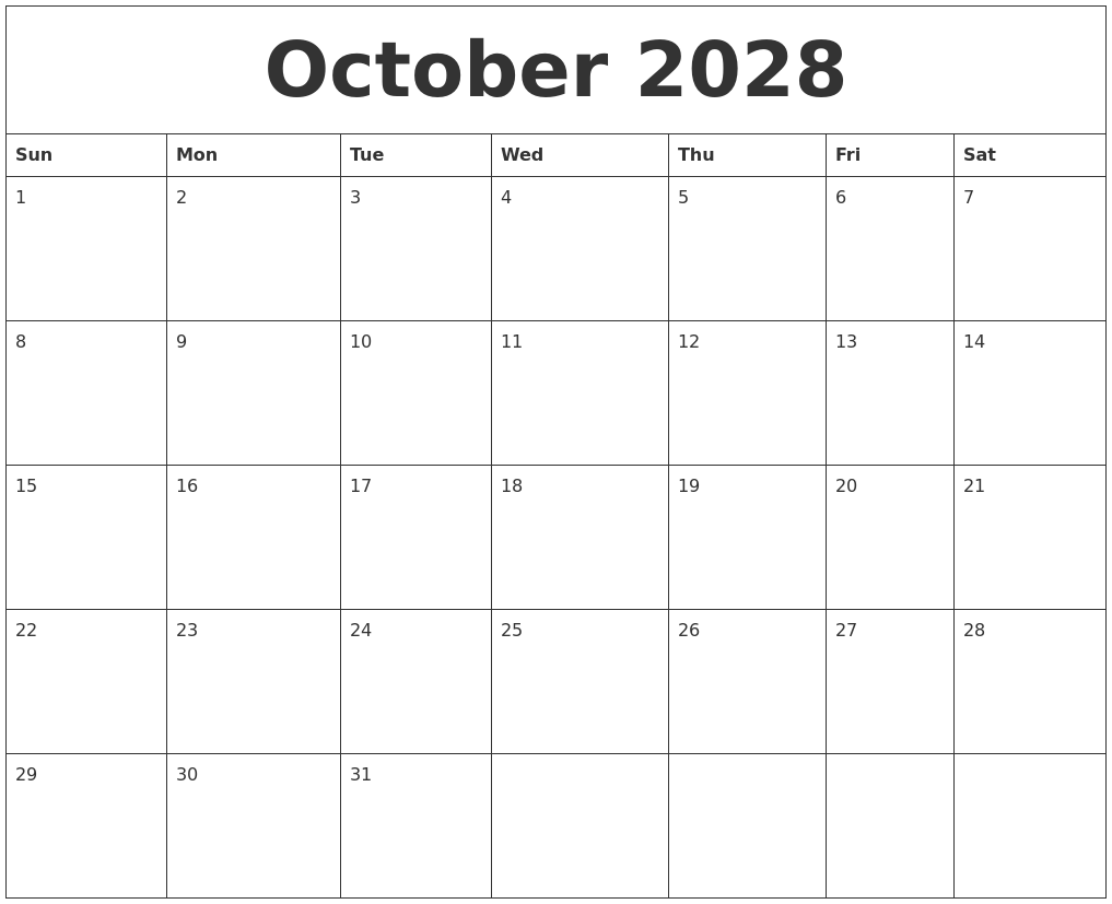 october 2028 free printable monthly calendar