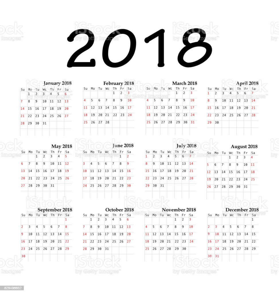 calendar 2018 year simple style vector id829496652