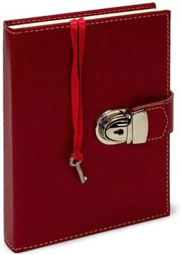 Locking Red Italian Leather Diary with Key (5