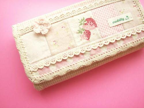 Kawaii Handmade Purse Wallet Japanese Fabric YUWA Girly Pink Strawberry Floral Lace Cute Japan