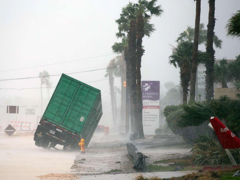 PHOTO: Outside of the CHRISTUS Spohn Hospital in Corpus Christi, Texas, Aug. 25, 2017, as Hurricane Harvey moves towards the Texas coast.