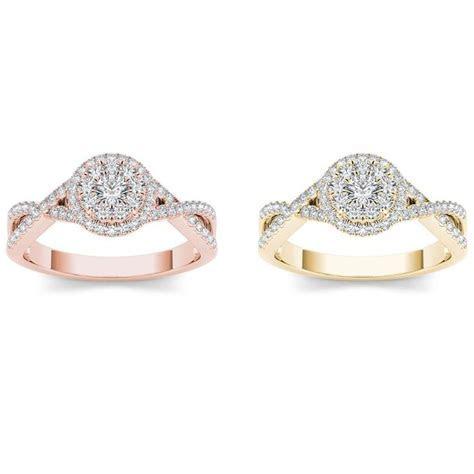 De Couer 10k Gold 1/2ct TDW Diamond Double Halo Engagement