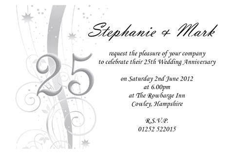 Free 25th wedding anniversary invitations : free online