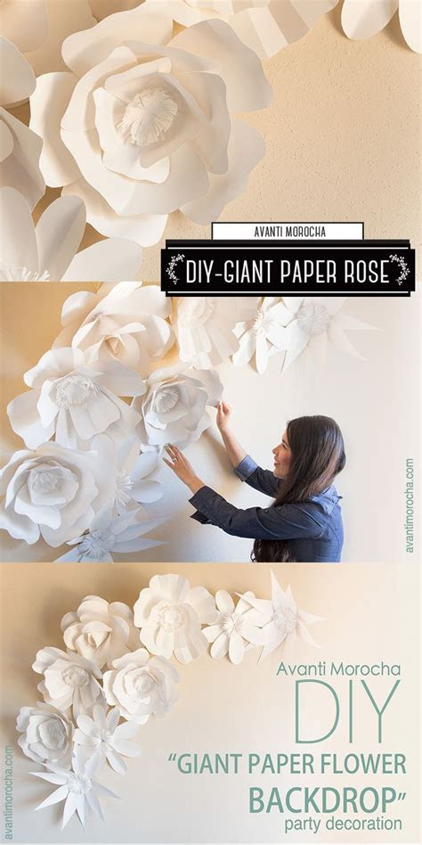 "DIY ""How to Make a Giant Paper Flower Backdrop"" Rose"