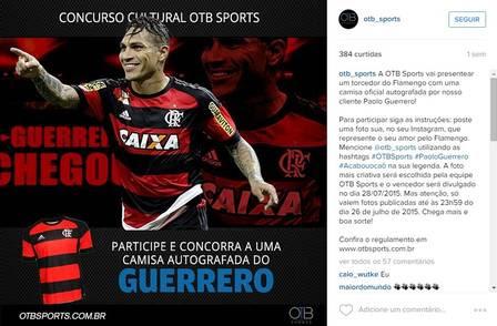 No concurso, teoricamente, o autor da melhor foto ganha a camisa do Flamengo autografada pelo Guerrero