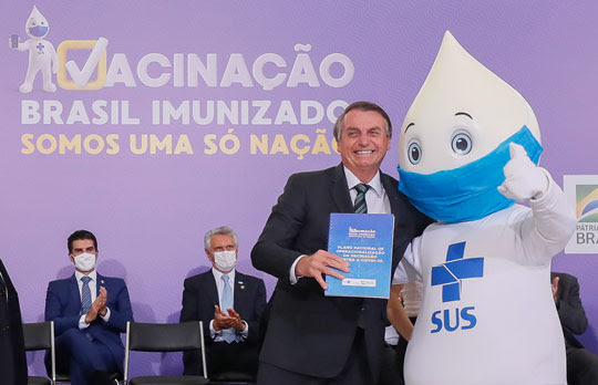 Bolsonaro durante lançamento do Plano Nacional de Operacionalização da Vacinação Contra a Covid-19 | Foto: Isac Nóbrega/PR