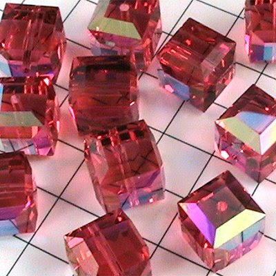 27756011442542 Swarovski Bead - 8 mm Faceted Cube (5601) - Padparadscha ABB (1)