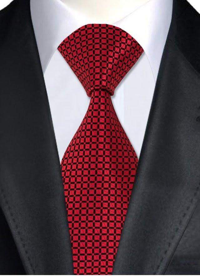 Corbata Clasica Y Elegante De Seda A Cuadros Negro Rojo
