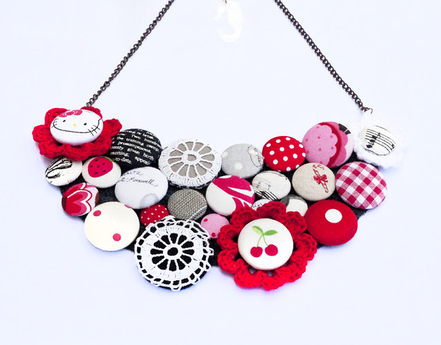 black white red button necklace