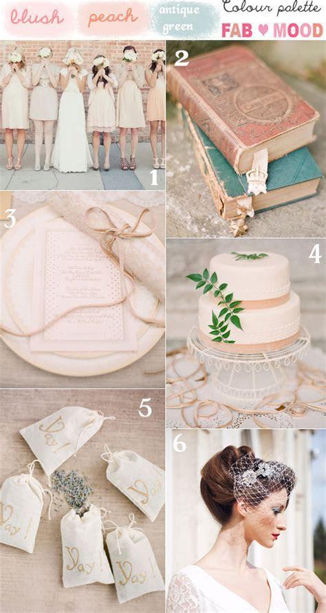 Blush Peach and Green Vintage Wedding Mood Board