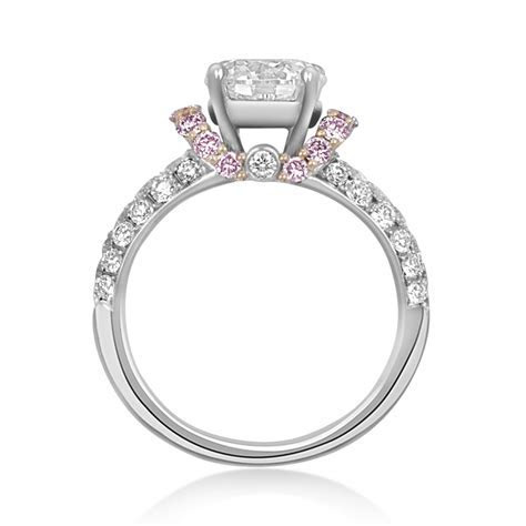 Jack Kelege Diamond Engagement Ring with Pink Diamond