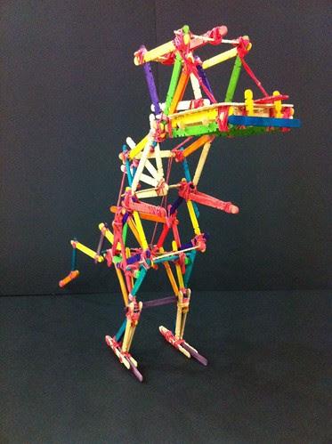 Ice-cream sticks + rubber bands dinosaur lanttern